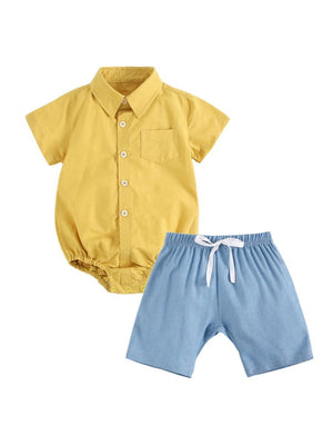 45f760236 2-Piece Summer Baby Outfit Solid Color Turn-down Collar Bodysuit Matching  Pull-