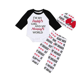 55aebdfa Valentine's Day Infant Baby Boy Girl Outfits Letter Print Top Pants Hat  3Pcs Clothes Set -