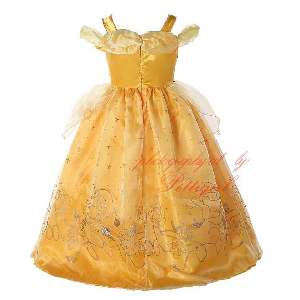 42cf4bab9ce Yellow Belle Girls Dress And Fancy Elsa Anna Prom Gown Costumes ...