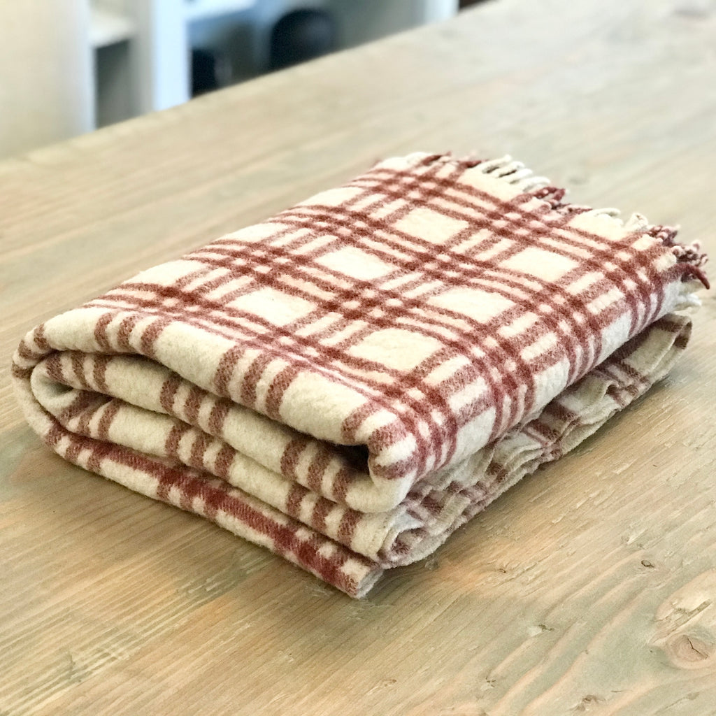 Vintage Red/Off-White Wool Throw