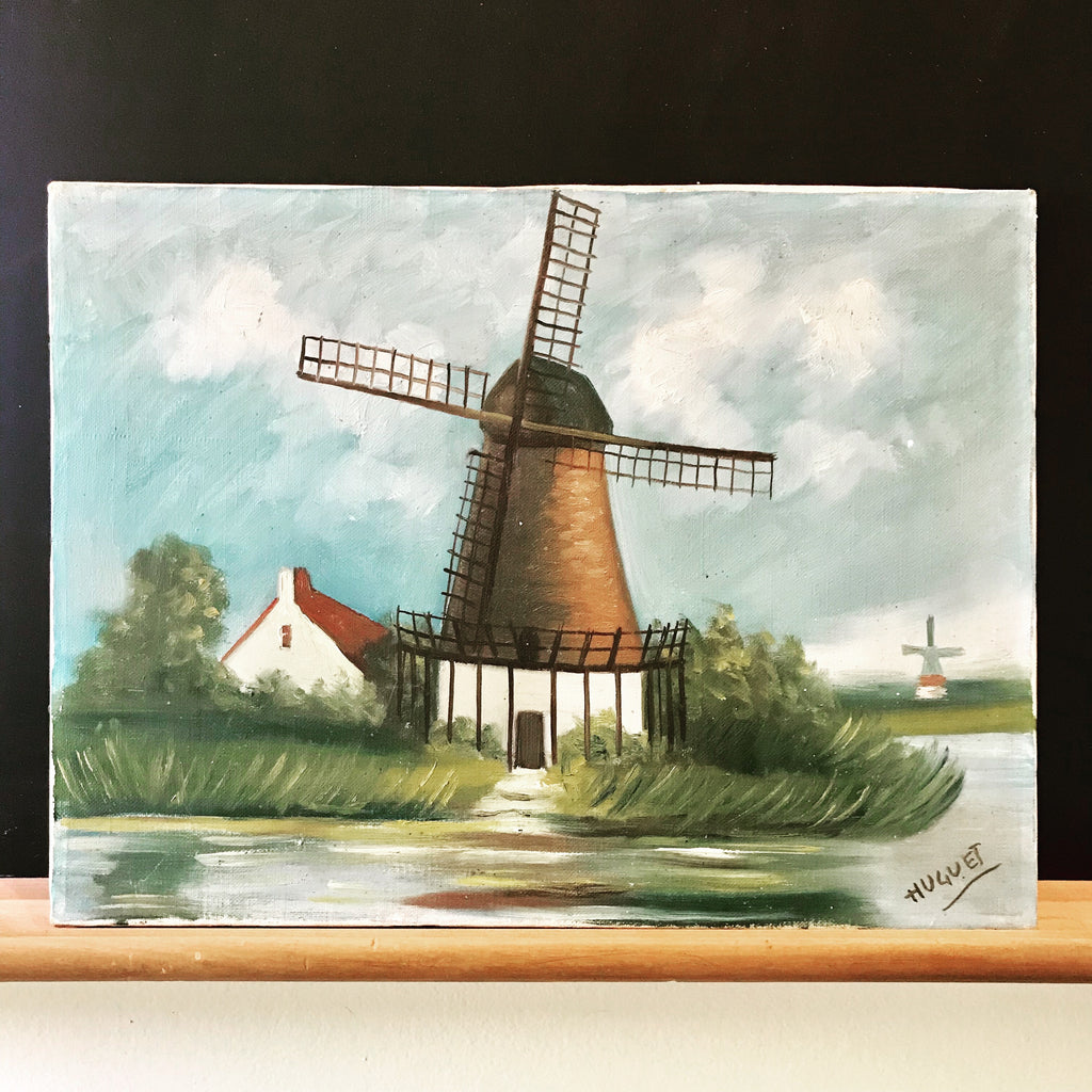 Vintage Dutch Windmill Painting