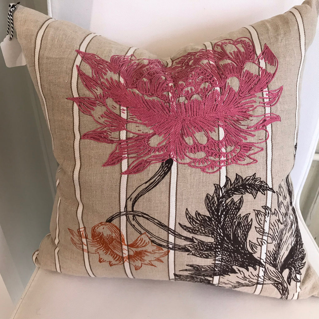 Linen Floral Embroidered Pillow