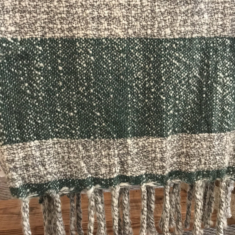 Heathered Grey & Green Wool Throw
