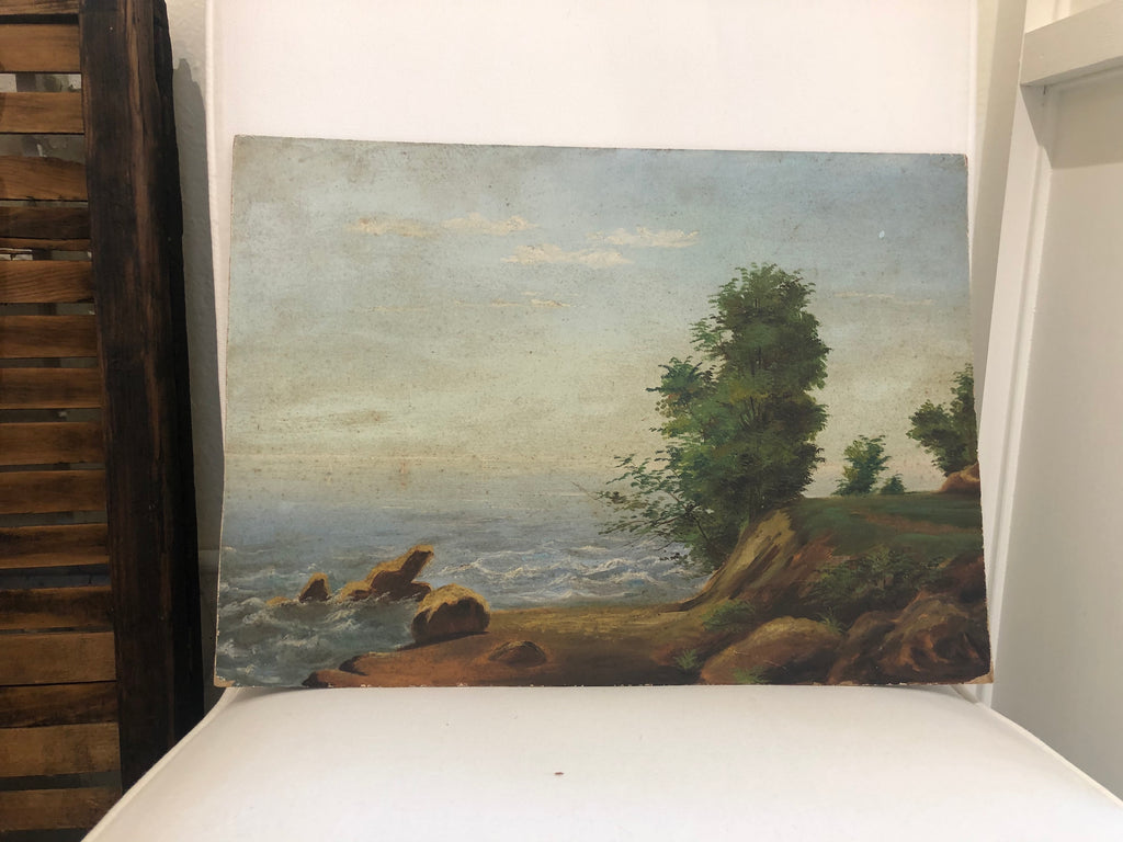 Coastline with Trees Painting