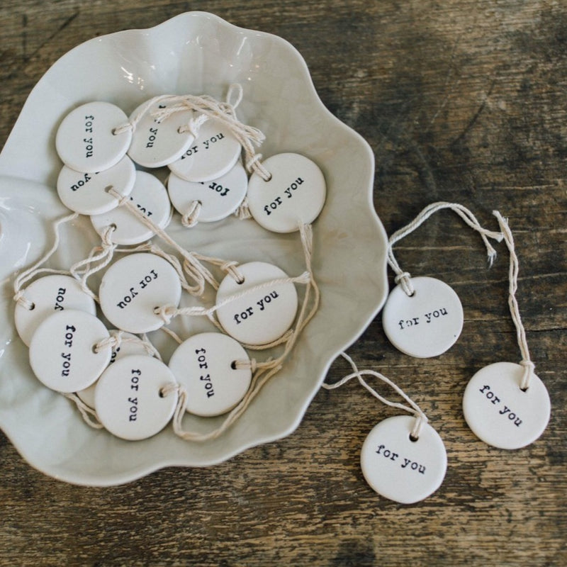 "Ceramic Gift Tag ""for you"""