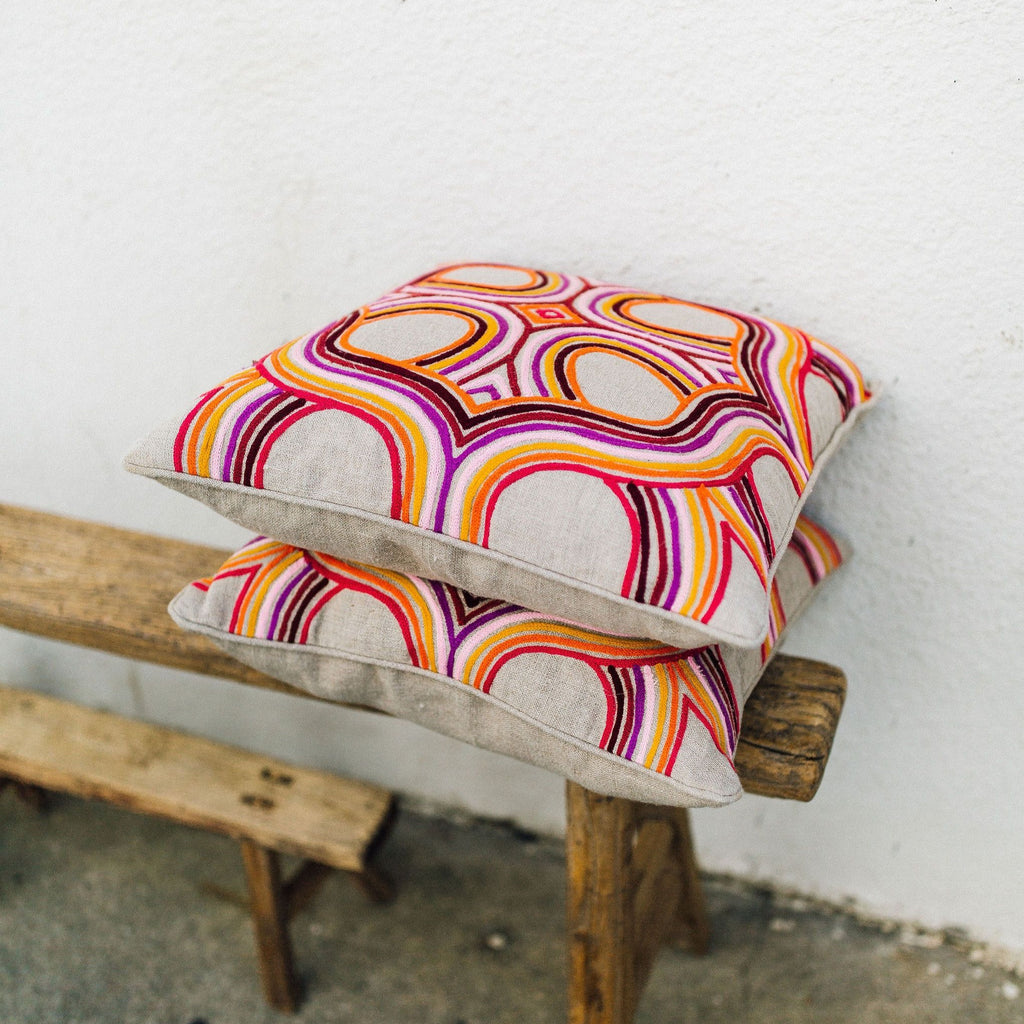 Linen Geometric Embroidered Pillow