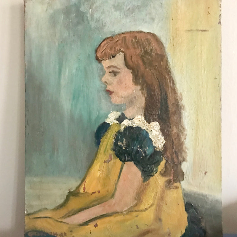 Vintage Oil Painting Portrait - Girl