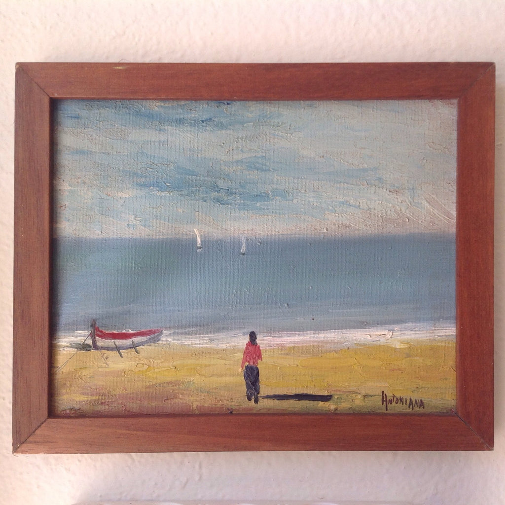 Vintage French Seaside Oil Painting