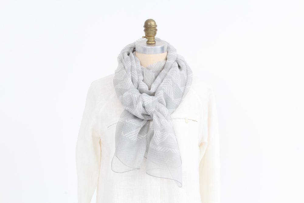 Scarf -  Silver - Cotton Silk