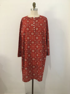 HANNAH Dress Red Ajrakh Print - 100% cotton - One Size