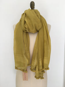 Pom Pom Scarf - Cotton/Silk
