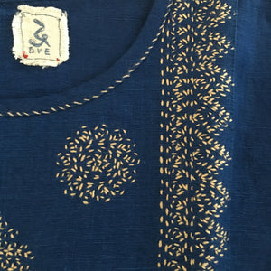 DVE - Indira  Dress - Indigo blue linen with Stone embroidery