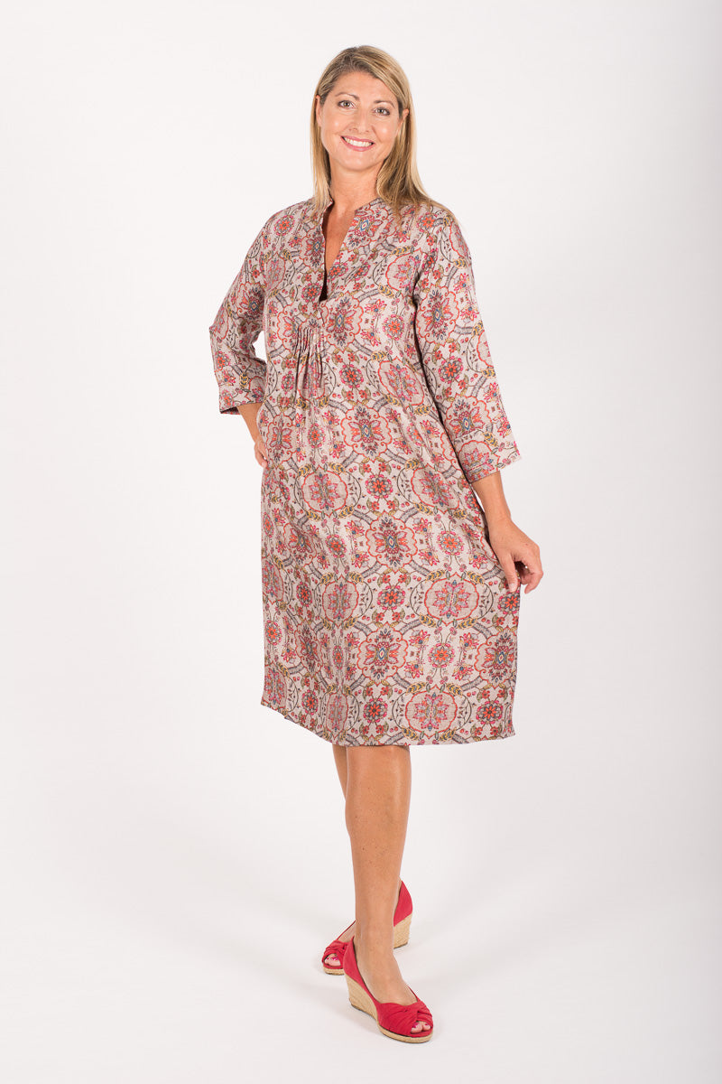 Dia Dress Multi - Silk Twill