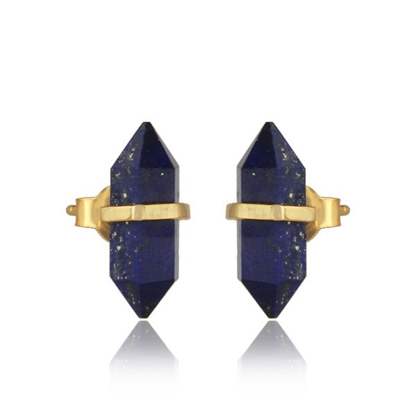 Gem stone Pencil studs - Semi precious stones with gold plate
