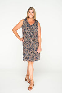 Flower Dress - Grey Batik