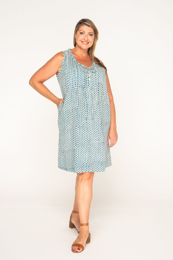 Flower Dress - Teal Dot