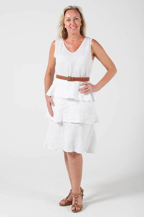 Flounce Dress -  White - 100% Linen