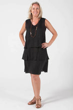 Flounce Dress - Black -  100% Linen