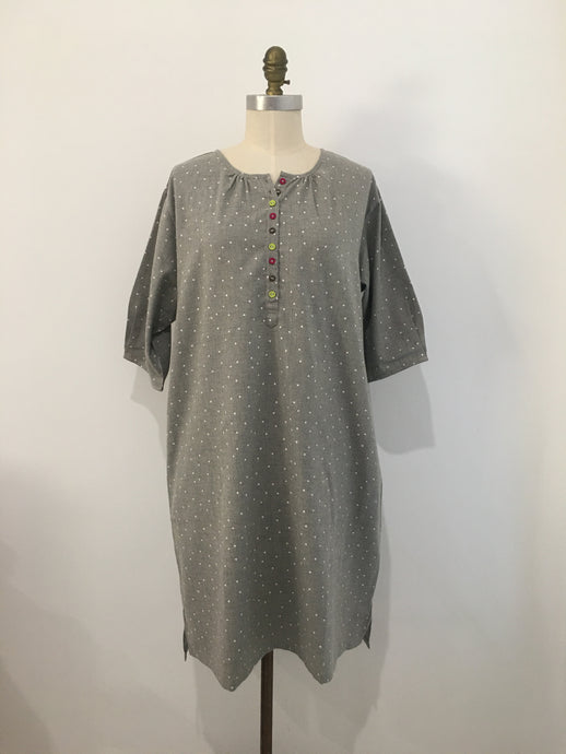 HANNAH Dress - Grey with Hearts Print - 100% cotton - One Size