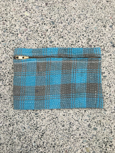 Kantha small zipped pouch