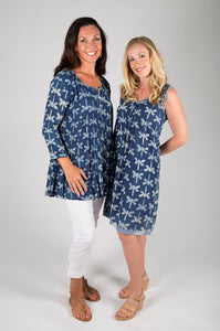 Annika Dress Indigo Dragonfly print