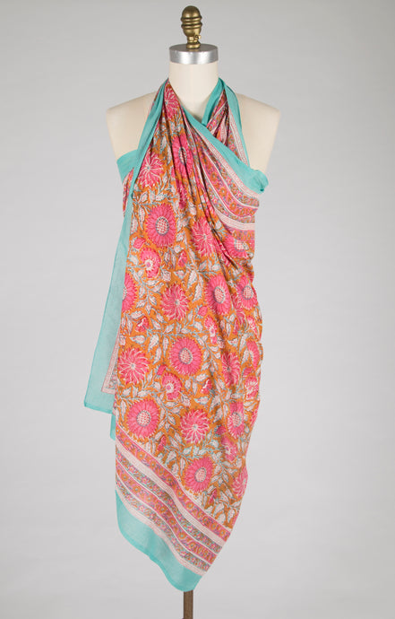 New - Sarong - Pink Sunburst - 100% Cotton Voile