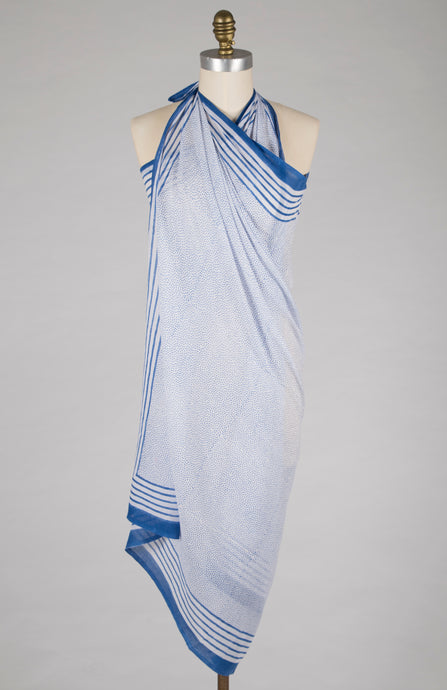 New - Sarong - Blue Dot - 100% Cotton Voile