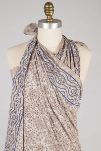 New - Sarong - Beige and Blue Block Print - 100% Cotton Voile