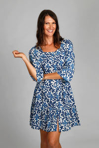 Betty Dress - Indigo - Floral print