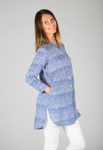 Zoe Shirt - Blue Triangle Print
