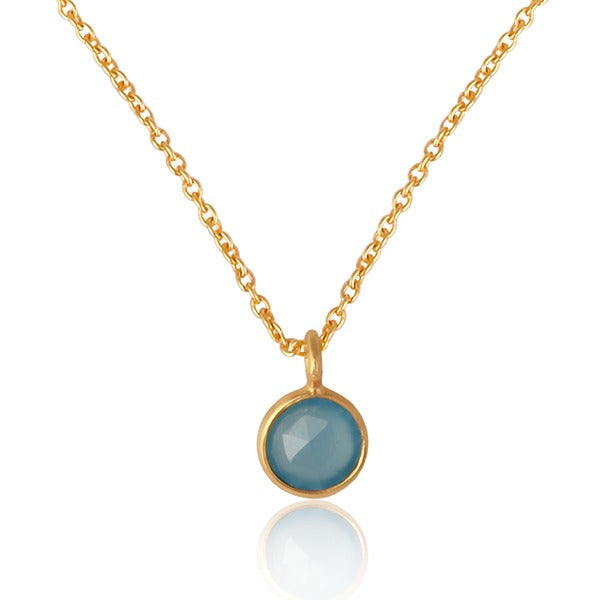 Pretty Gem Stone Necklace - Semi precious stones and gold plated silver