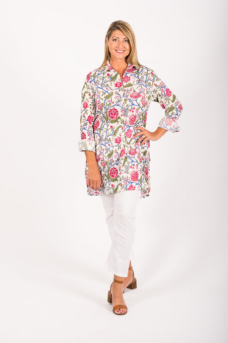New Siri Shirt - White Chinoiserie Floral