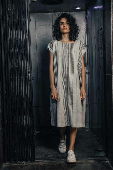 DVE - Rima Dress - 100% Cotton Khadi Striped Dress with hand embroidery