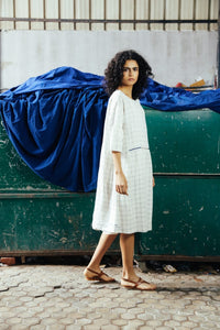 DVE - Padma Dress - Linen Check Dress with hand embroidery