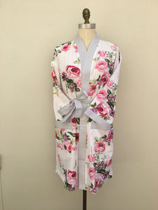 New - Cotton Kimono - White Floral - One Size