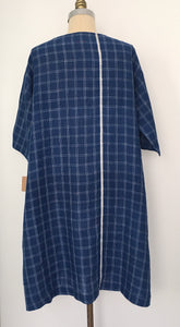 DVE - Padma Dress - Linen Check Dress - Indigo - with hand embroidery