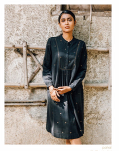 DVE - Pahal Dress - Black Jamdani with rose gold motif and hand embroidery