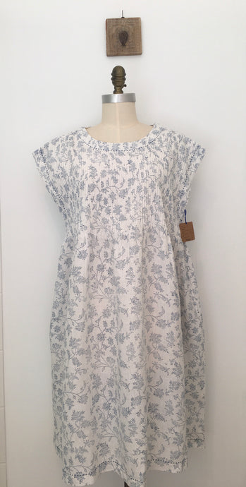 DVE - Rima Dress - 100% Linen Block Printed Dress with hand embroidery
