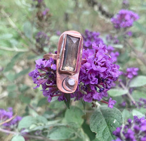 Pyrite in Copper and Sterling Ring