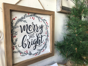 Merry and Bright Wood Frame