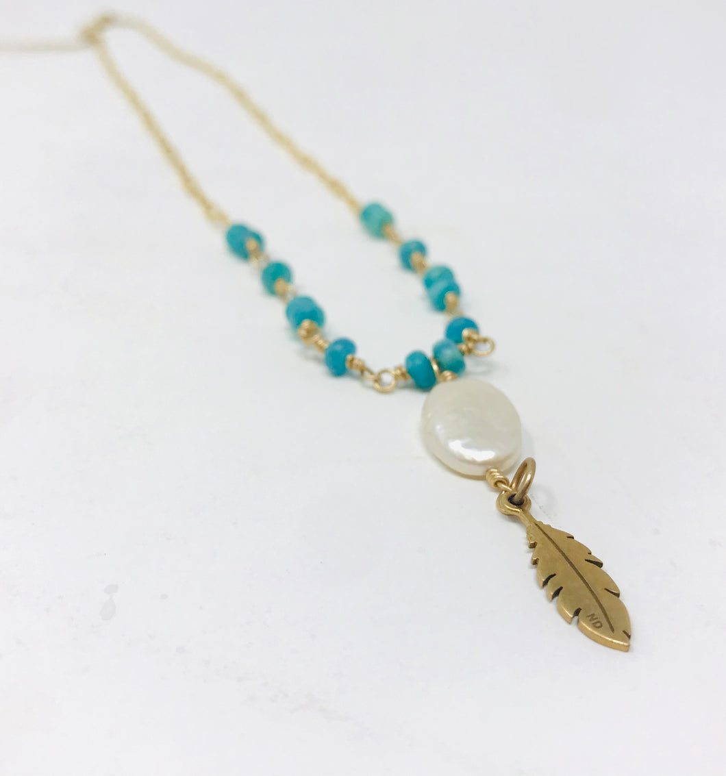 Amazonite/Mother Pearl/ Brass Necklace
