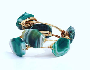Green Agate Stone Bangle