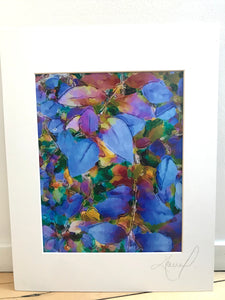 Saturated Light Blue Colorful Leaves Abstract Print