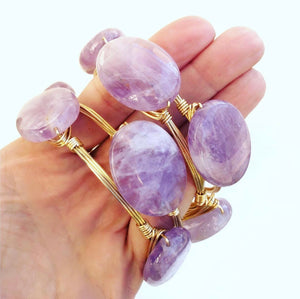 Amethyst Slab Oval Bangle