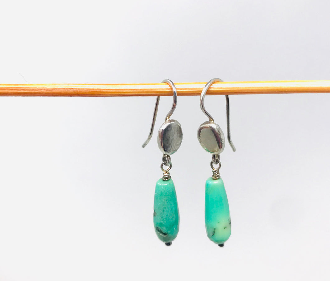 Green Drops Sterling Silver Earrings