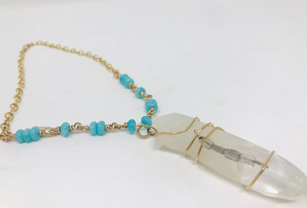 Crystal with Blue Beads Gold Necklace