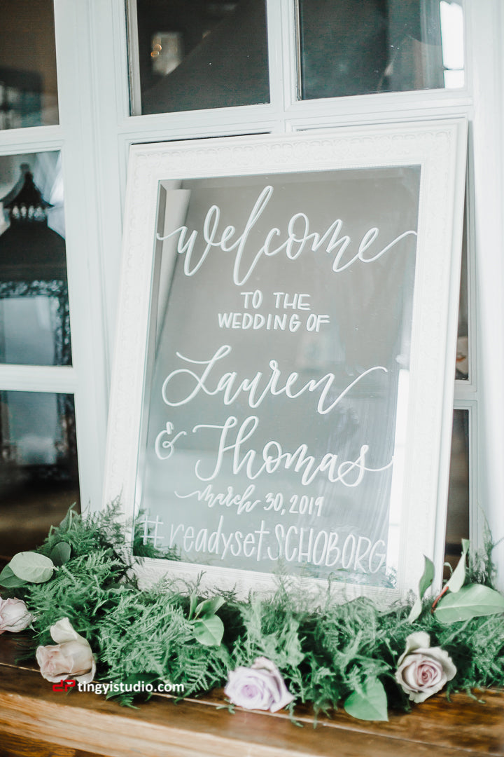 Small White Welcome Mirror