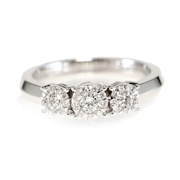 18K White Gold Diamond Bouquet Engagement Ring