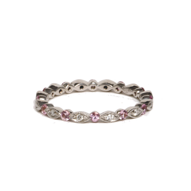 18kt White Gold Pink Sapphire And Diamond Eternity Band
