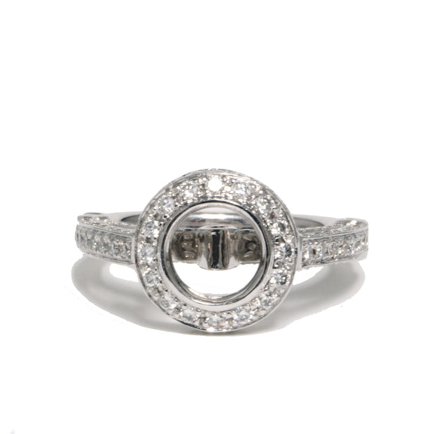 18kt White Gold Halo Diamond Semi-Mounting